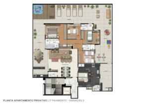 Imagem mostra a planta do apartamento com área privativa do empreendimento L'Essence, da Monterre Construtora.