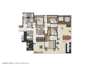 Imagem mostra a planta do apartamento com área privativa do empreendimento Le Jardin, da Monterre Construtora.