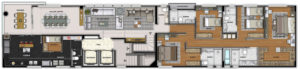 Imagem mostra a planta da cobertura do empreendimento Isla Victoria, da Monterre Construtora.