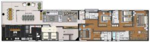 Imagem mostra a planta do apartamento 300 do empreendimento Isla Victoria, da Monterre Construtora.