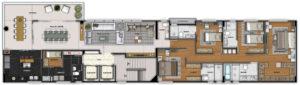 Imagem mostra a planta do apartamento 400 do empreendimento Isla Victoria, da Monterre Construtora.