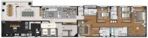 Imagem mostra a planta do apartamento 600 do empreendimento Isla Victoria, da Monterre Construtora.