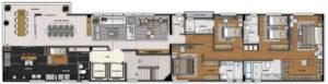 Imagem mostra a planta do apartamento 700 do empreendimento Isla Victoria, da Monterre Construtora.