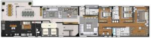 Imagem mostra a planta do apartamento 800 do empreendimento Isla Victoria, da Monterre Construtora.