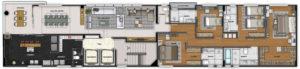 Imagem mostra a planta do apartamento 900 do empreendimento Isla Victoria, da Monterre Construtora.