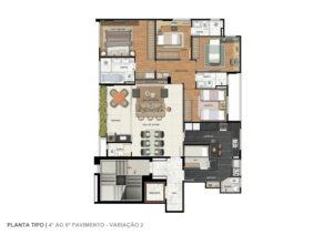Imagem mostra a planta do apartamento tipo do empreendimento L'Essence, da Monterre Construtora.