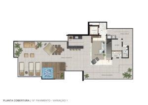 Imagem mostra a planta da cobertura do empreendimento L'Essence, da Monterre Construtora.
