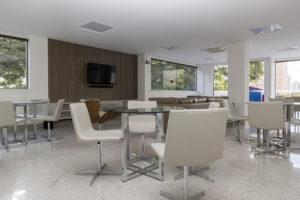 Imagem mostra o salão de festas do L'Essence, da Monterre Construtora.