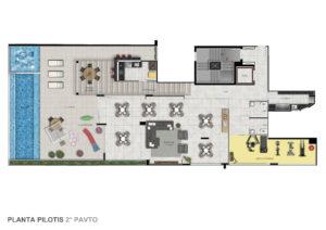 Imagem mostra a planta do pilotis do empreendimento L'Essence, da Monterre Construtora.