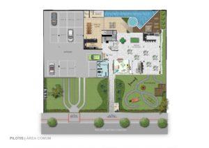 Imagem mostra a planta do pilotis do empreendimento Le Jardin, da Monterre Construtora.