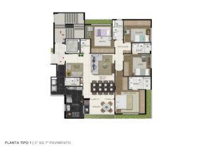 Imagem mostra a planta do apartamento tipo do empreendimento Le Jardin, da Monterre Construtora.