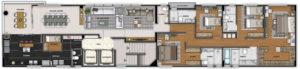 Imagem mostra a planta do apartamento 1000 do empreendimento Isla Victoria, da Monterre Construtora.