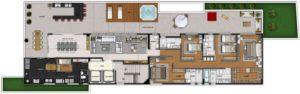Imagem mostra a planta do apartamento 200 do empreendimento Isla Victoria, da Monterre Construtora.