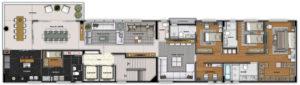 Imagem mostra a planta do apartamento 500 do empreendimento Isla Victoria, da Monterre Construtora.