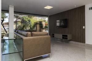 Imagem mostra foto do salão de festas do edifício Le Jardin, da Monterre Construtora.